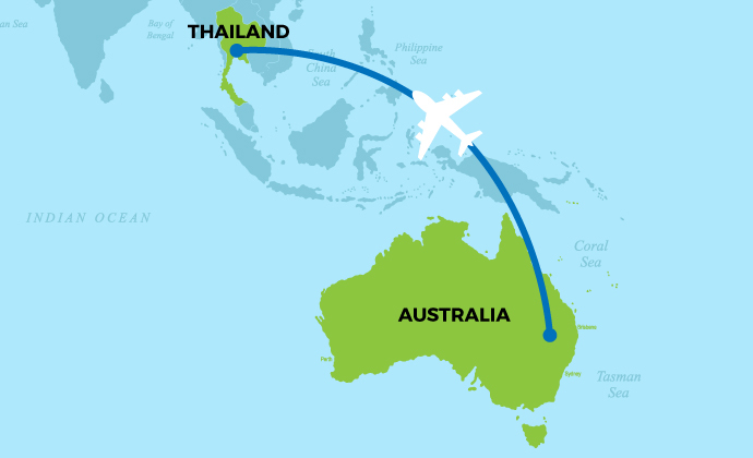 Map showing plane flying from Australia to Thailand.